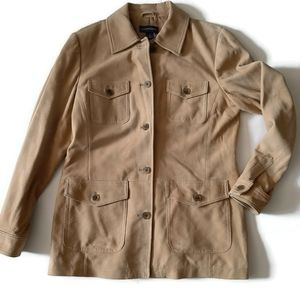 LAND'S END soft goat suede chamois safari jacket …